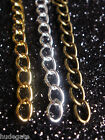 10-100 Gold, Silver Plated or Bronze Tone Necklace Extender Chains Wholesale