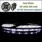 5M 3528 Cool White 300 LEDs Waterproof Flexible Strip Lighting12V DIY Patry Car