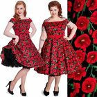 HELL BUNNY CORDELIA POPPY RED FLORAL VINTAGE DRESS WEDDING PROM 8-24 PLUS SIZE