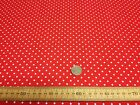 Polycotton Fabric * SPOTTED POLKA DOT * RED with TINY WHITE SPOTS * 2mm