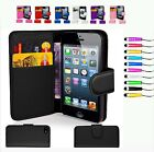 Wallet Flip leather Mobile Phone Case Cover for Iphone 4 4s and iphone 5 5s