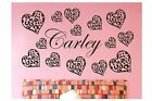 14 Leopard / Cheetah Spot Hearts & Personalized Name - Wall Decal Sticker Decor