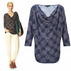 New French Connection 8 - 12 Cowl Neck Blue Navy Cascade Print Jersey Tunic Top