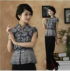 BL dark blue Chinese style Women's Top T-shirt blouse jacket sz:6.8.10.12.14.16