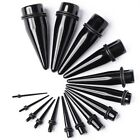 Black Acrylic Taper Ear Stretcher Kit Expander Stretching Flesh Plug Tapers
