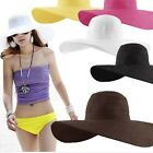 Women Folding Summer Sun Floppy Hat Straw Beach Wide Large Brim Cap 12 Colors