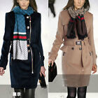 New Women double-breasted Wool Parka Winter Warm Coat Trench Jacket with scarf