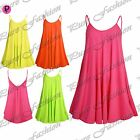 Womens Ladies Plain Strappy Flared New Camisole Fluorescent Vest Swing Dress Top