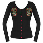 BLACK RED SUGAR SKULL BANNED CARDIGAN PLUS SIZE 16 18 20 22 ROCKABILLY GOTH NEW