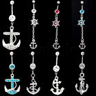 Multi Color Gems Anchor Dangle Navel Belly Button Barbell Ring Body Piercing EW