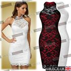 Womens Sexy Contrast Lace Backless Prom Wedding Formal Evening Party Dresses6-16
