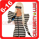 New Black White Striped Lady Gaga Celebrity Fancy Dress Party Costume 90s Ladies
