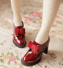 new fashion women patent leather bowknot wine red england high heel shoes X765