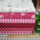 Red 6 Assorted Pre-Cut Cotton Linen Quilt Fabric Fat Quarter or By the Yard