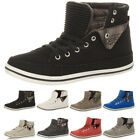 WOMENS LADIES FLAT LACE UP TRAINERS HIGH HI TOP PUMPS ANKLE BOOTS SHOES SIZE
