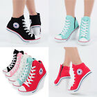 Flats Heels Wedge Platform Trainers High Sneakers Boots Ankles Lace 777 Side Zip