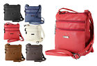 New Leather Style Cross Across Body Shoulder Messenger Bag Womans Zipped