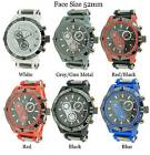Mens Geneva Bullet Band Silicone Strap Watch 52mm Brand New