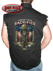 HONOR THEIR SACRIFICE Sleeveless Denim Shirt Biker Patriotic Military Veterans