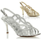 WOMENS LADIES HIGH HEEL SLINGBACK DIAMANTE WEDDING STRAPPY SANDALS SHOES SIZE