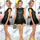 Womens Ladies Party Evening Prom Black Floral Lace Mini Short Tunic Skater Dress