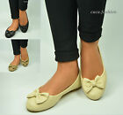 WOMENS BALLET DOLLY BALLERINA PUMPS LADIES BLACK SLIP ON LARGE BOW SHOES SIZE UK
