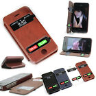 Hot PU Leather Window Flip Cover Case For Apple iPhone 5/5S + 1pcs free Screen