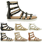 LADIES WOMENS GLADIATOR SANDALS STRAPPY CUT OUT SUMMER SHOES CHUNKY SOLE SIZE