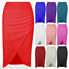 Ladies Womens Elasticated Waist Side Ruched Wrap Over Split Pencil Skirt 8-14