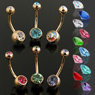 Gold Plated Double Gem Belly Bar Navel Ring Body Jewellery Sexy Non-Dangle