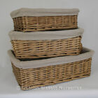 Wicker Oatmeal Storage Basket Lined x 2