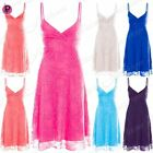 Womens Ladies Floral Lace Camisole Strappy Front Wrap Flared Swing Mini Dress