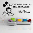 Vinyl Wall Decal Quote Mickey Mouse Walt Disney, The Impossible Decor Sticker