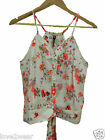 NEW Ladies Floral Print Button Up Sleeveless Blouse Top Vest Women's Sizes 8-14