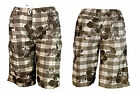 BNWT HF BOYS COMBAT CHECK/FLORAL BROWNISH/GREY SHORTS  AGE 4 - 12 YRS