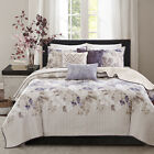 BEAUTIFUL MODERN CHIC IVORY WHITE PURPLE GREY TAUPE LEAF LEAVES SOFT QUILT SET image