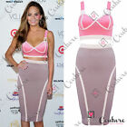 Womens Celeb Two Piece 2 Bodycon Bralet Crop Top Skirt Party Bandage Midi Dress
