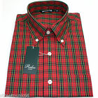 Relco Mens Red Tartan Check Short Sleeved Shirt Mod Skin Retro Indie 60s