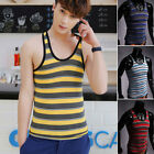 Mucle Sexy Sleeveless Men's Striped Tank Top Vest Undershirt Basic Slim Tee