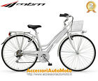 "BICI MBM TOURING WOMAN RUOTE 28"" BICICLETTA DONNA TREKKING CITY BIKE SILVER 6S"