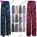 Womens Ladies Wide Leg Printed Flared Parallel Pants Trousers Palazzo Leggings