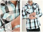 Men's Western Checkered Fashion Shirt with Snap Buttons Aqua Checkered shirt