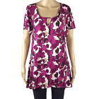 Ex Marina Kaneva Tunic Floral Cerise/Fuschia Floaty Ladies Plus Size Top