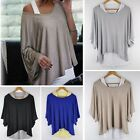 Hot Fashion Sexy Womens Casual Loose Tops Batwing Blouse T-shirt +Tank Vest 2PCS