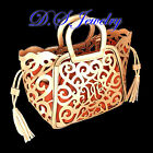 Brown & Golden PU Carved Hollow Lacy Design Tote Bag-Good for Party & Office