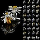 Mens Stainless Steel Wedding Gift Business Shirt Silver Gold Crystal Cufflinks