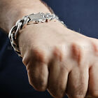 Mens Silver Bracelet with Cool Figaro Links x 15mm Wide - Solid Sterling Silver