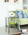 2 Tier Glass Table Shelf Black Clear Chrome Side End Stylish Design New Coffee