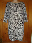 NWOT DP Floral Shift Monochrome Tunic Dress Szs UK 8 to UK 20