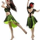 2014 Rose Flowers Lace Performance Belly Dance Costume 2Pieces Top Skirt(Aug.)